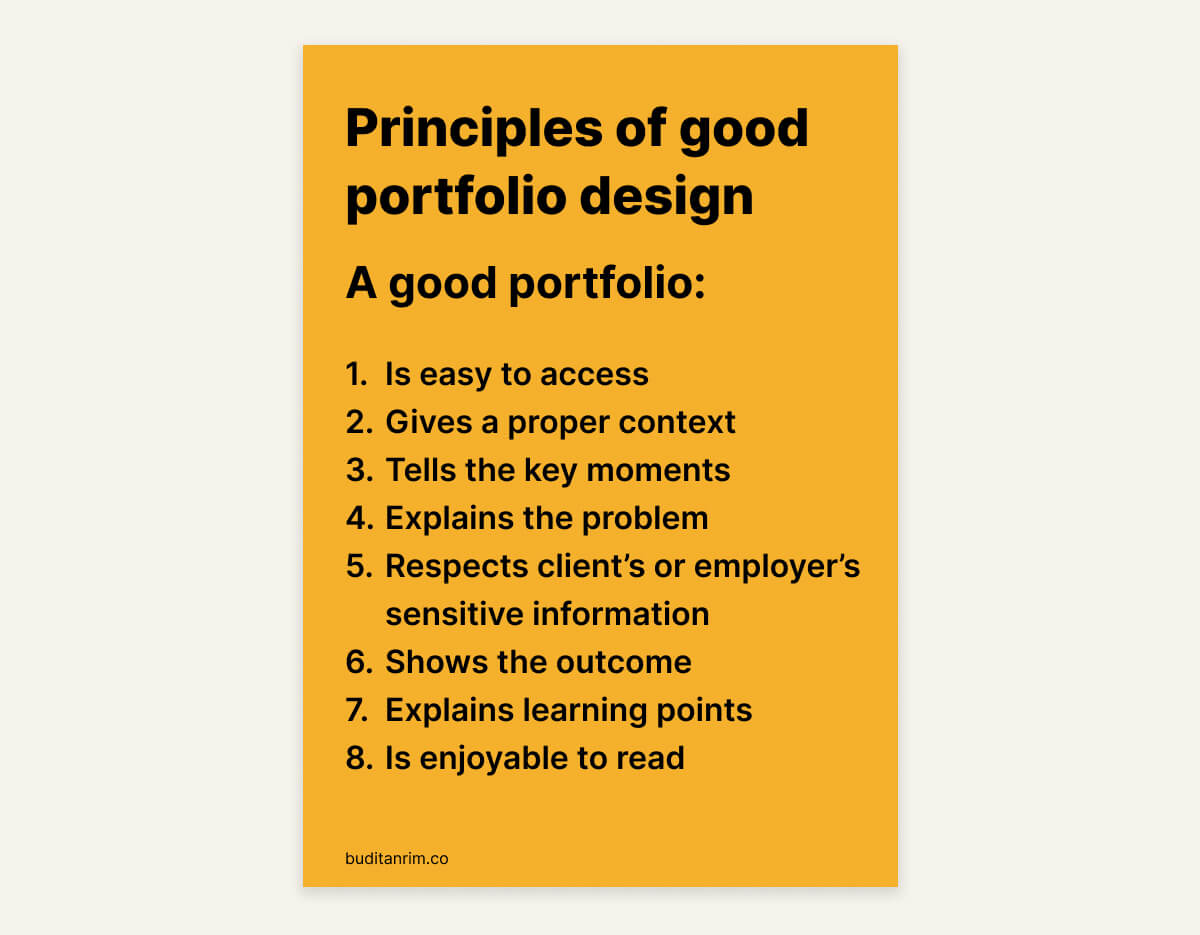 Principles of Good Portfolio